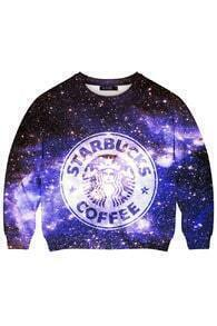 This Is Print Starbuck Coffee in Galaxy Print Sweatshirt