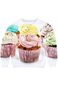 This Is Print Single Cake Print Long-sleeved White Sweatshirt
