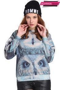 ROMWE Owls Print Long-sleeved Sweatshirt