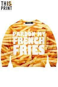 This Is Print French Fries Print Long-sleeved Sweatshirt