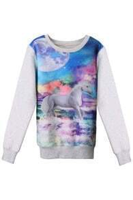 Galaxy White Horse Print Light-grey Pullover