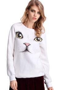 Cat Face Print White Thick Pullover