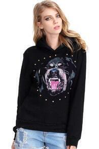 Dog Head Print Black Hoodie