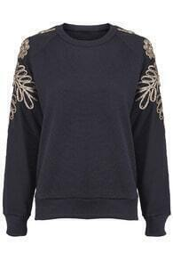 Golden Embroidered Black Pullover