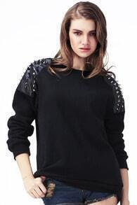 Rivet Embellished Black Pullover