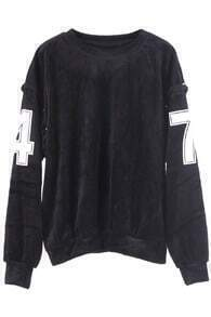 Numbers Riveted Black Pullover