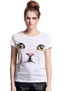 Cat Face White T-shirt