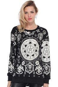 Gothic Symbol Print Black T-shirt