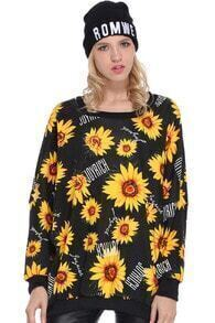 Sunflowers Print Black Sweatshirt