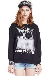 ROMWE Treacherous Cat Print Long Sleeve Black Sweatshirt