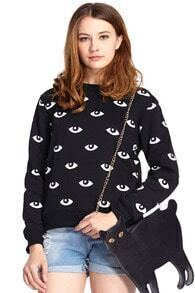ROMWE White Eyes Print Black Long-sleeved Sweatshirt