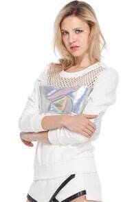 Holographic Print Hollow Sweatshirt