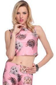 Cats' Heads Print Pink Vest