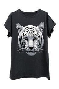 Tiger Head Printed Black T-shirt