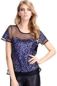 Sequined Splicing T-shirt