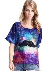 Galaxy Mustache Print T-shirt