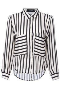 ROMWE Black Striped Print Long-sleeved Blouse