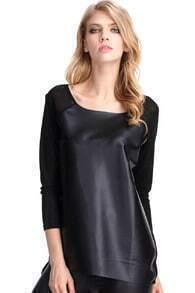 Faux Leather Black T-shirt