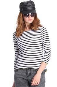 Striped Asymmetric Hem Black T-Shirt
