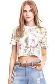 Peony Flower Print Stripe T-shirt