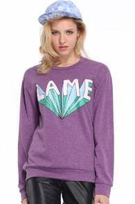LAME Printed Purple Pullover