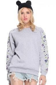 Floral Printed Sleeves Grey Pullover