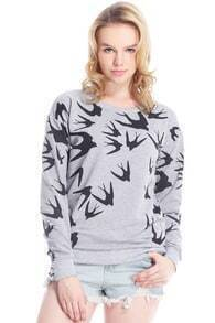 Swallow Printed Grey Pullover