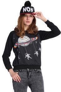 Saturn Printed Black Pullover