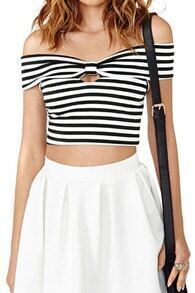 ROMWE Striped Off-shoulder Midriff T-shirt