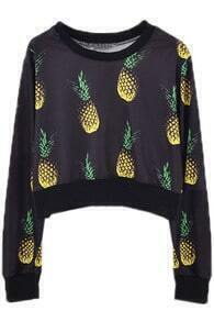 All-over Pineapple Print Black Pullover