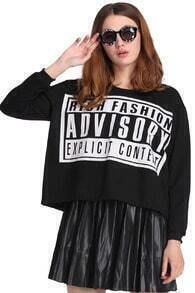 ADVISORY Print Black Sweatshirt