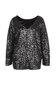 Blingbling Paillette Dark Grey Top