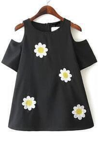 Black Floral Print Shirt with Cutout Shoulder