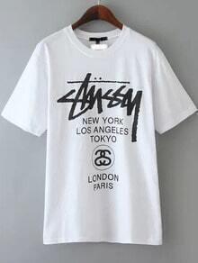 White Letter Print Shirt