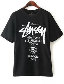 Black Letter Print Shirt