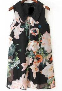 Lapel Floral Print Chiffon Dress