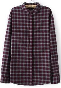 Red Lapel Long Sleeve Plaid Blouse