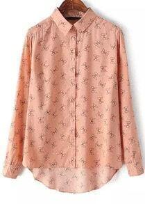 Pink Long Sleeve Bow Print Dipped Hem Blouse