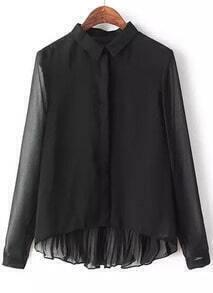 Black Long Sleeve Loose Dipped Hem Blouse