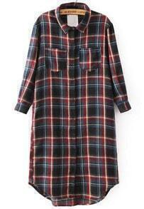 Red Long Sleeve Plaid Pockets Blouse