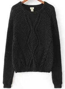 Black Long Sleeve Cable Knit Crop Sweater