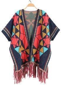 Geometric Print Tassel Knit Cardigan