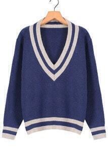 V Neck Loose Crop Blue Sweater