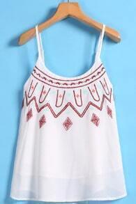 Spaghetti Strap Embroidered White Vest
