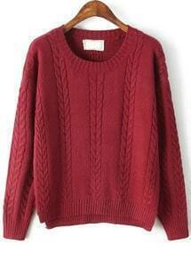 Cable Knit Split Red Sweater