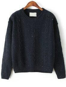 Classical Cable Knit Navy Sweater