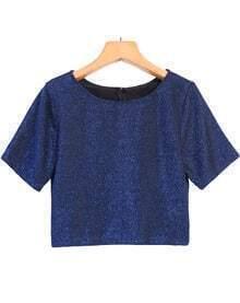 Round Neck Crop Blue T-Shirt