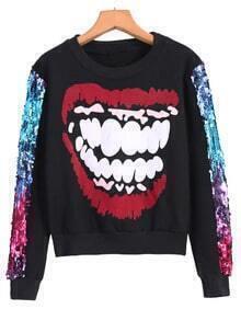 Black Crop Sweatshirt with Sequined Sleeves