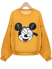 Mickey Print Crop Sweatshirt