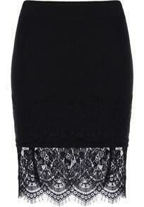 Contrast Lace Bodycon Skirt